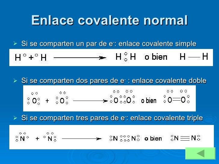 Enlace covalente normal <ul><li>Si se comparten un par de e - : enlace covalente simple </li></ul><ul><li>Si se comparten ...