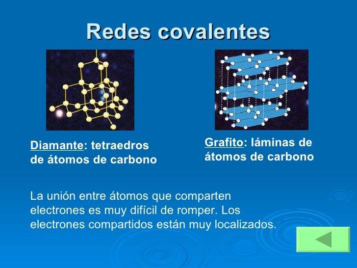 Redes covalentes La unión entre átomos que comparten electrones es muy difícil de romper. Los electrones compartidos están...