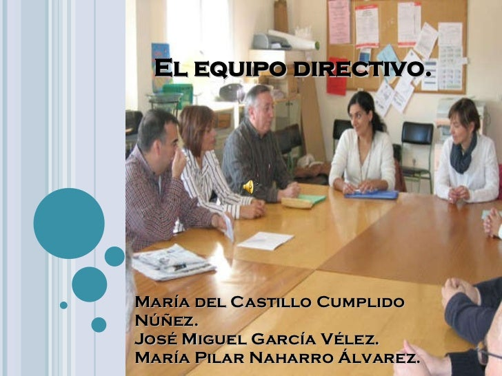El equipo directivo. María del Castillo Cumplido Núñez. José Miguel García Vélez. María Pilar Naharro Álvarez.