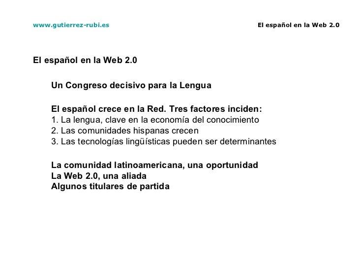 El español en la Web 2.0 Slide 2