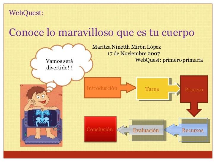 WebQuest:  Conoce lo maravilloso que es tu cuerpo Maritza Ninetth Mirón López 17 de Noviembre 2007 WebQuest: primero prima...