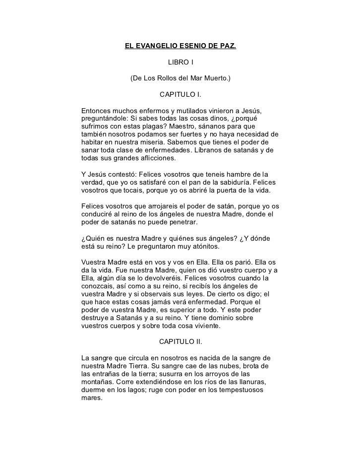 EL EVANGELIO ESENIO DE PAZ.                              LIBRO I                 (De Los Rollos del Mar Muerto.)          ...