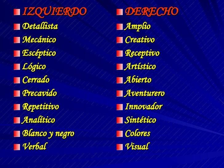 <ul><li>IZQUIERDO </li></ul><ul><li>Detallista </li></ul><ul><li>Mecánico </li></ul><ul><li>Escéptico </li></ul><ul><li>Ló...