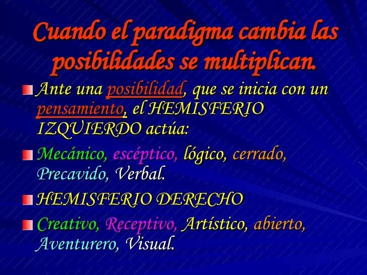 Cuando el paradigma cambia las posibilidades se multiplican. <ul><li>Ante una  posibilidad , que se inicia con un  pensami...