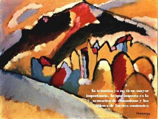 A partirde 1910, Kandinsky continuó pintando cuadros en los que aun eran discernibles los elementos figurativos, pero al m...