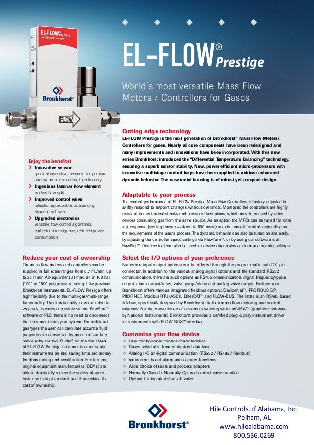 Cutting edge technology EL-FLOW Prestige is the next generation of Bronkhorst® Mass Flow Meters/ Controllers for gases. Ne...