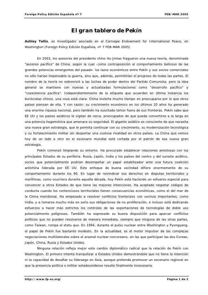 Foreign Policy Edición Española nº 7                                                    FEB/MAR 2005                      ...