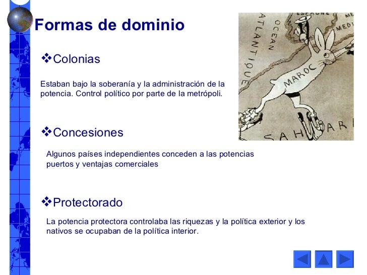 Estaban bajo la soberanía y la administración de la potencia. Control político por parte de la metrópoli. Formas de domini...