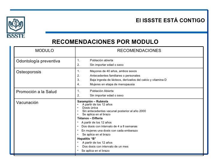 El ISSSTE ESTÁ CONTIGO <ul><li>RECOMENDACIONES POR MODULO  </li></ul><ul><li>Sarampión – Rubéola </li></ul><ul><li>A parti...