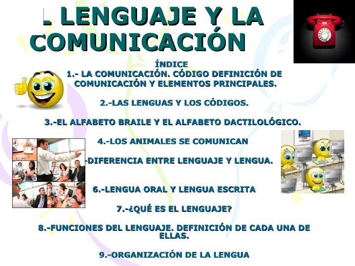 EL LENGUAJE Y LA COMUNICACIÓN  ÍNDICE  1.- LA COMUNICACIÓN. CÓDIGO DEFINICIÓN DE COMUNICACIÓN Y ELEMENTOS PRINCIPALES. 2.-...
