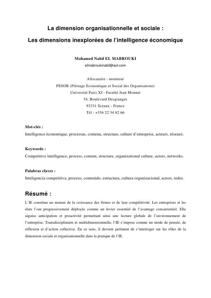 La dimension organisationnelle et sociale : Les dimensions inexplorées de l'intelligence économique                       ...