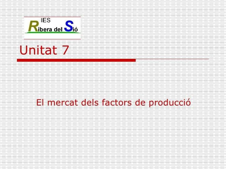 Unitat 7 El mercat dels factors de producció