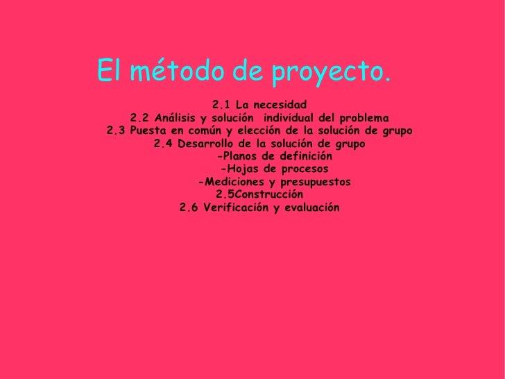 El método de proyecto. 2.1 La necesidad 2.2 Análisis y solución  individual del problema 2.3 Puesta en común y elección de...