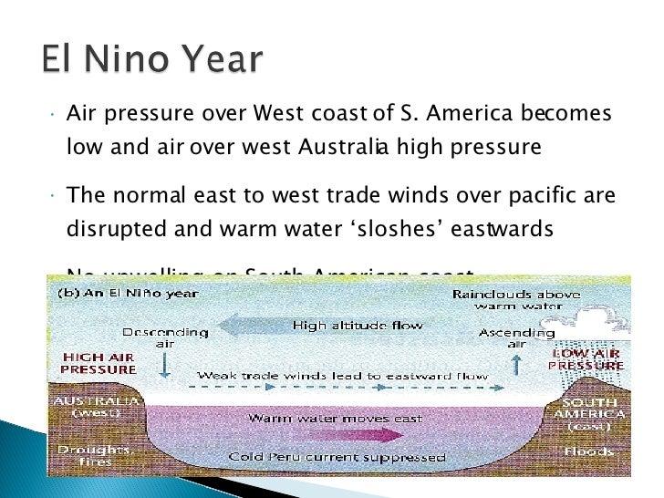 <ul><li>Air pressure over West coast of S. America becomes low and air over west Australia high pressure </li></ul><ul><li...