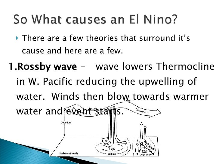 <ul><li>There are a few theories that surround it's cause and here are a few. </li></ul><ul><li>Rossby wave  - wave lowers...