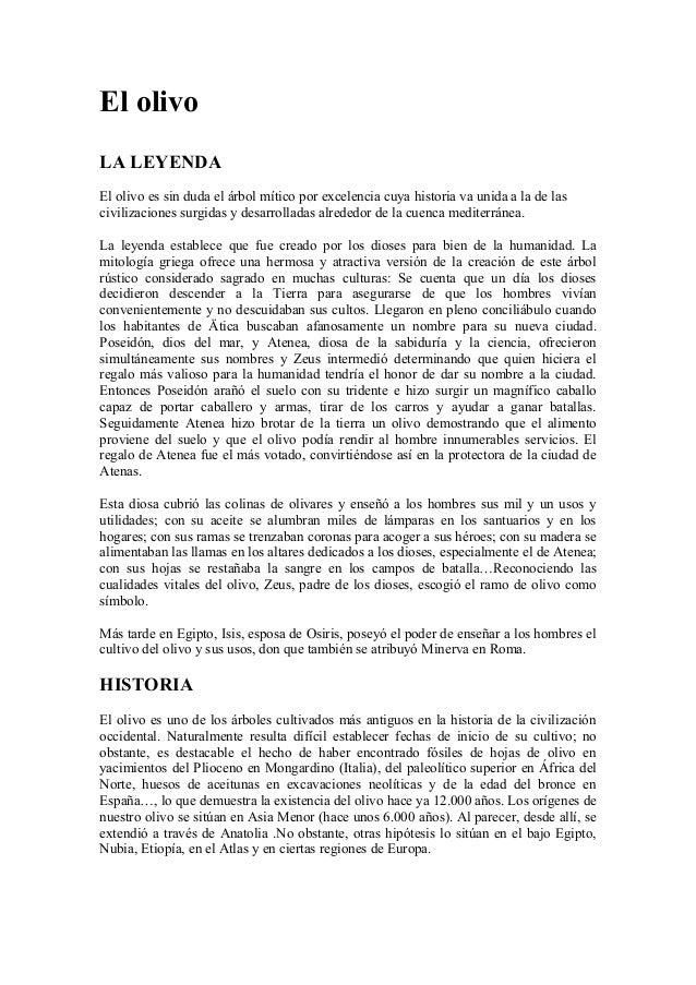 El olivo LA LEYENDA El olivo es sin duda el árbol mítico por excelencia cuya historia va unida a la de las civilizaciones ...