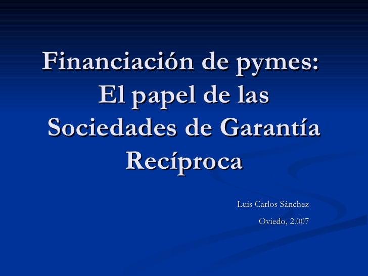 Financiación de pymes:  El papel de las Sociedades de Garantía Recíproca Luis Carlos Sánchez Oviedo, 2.007