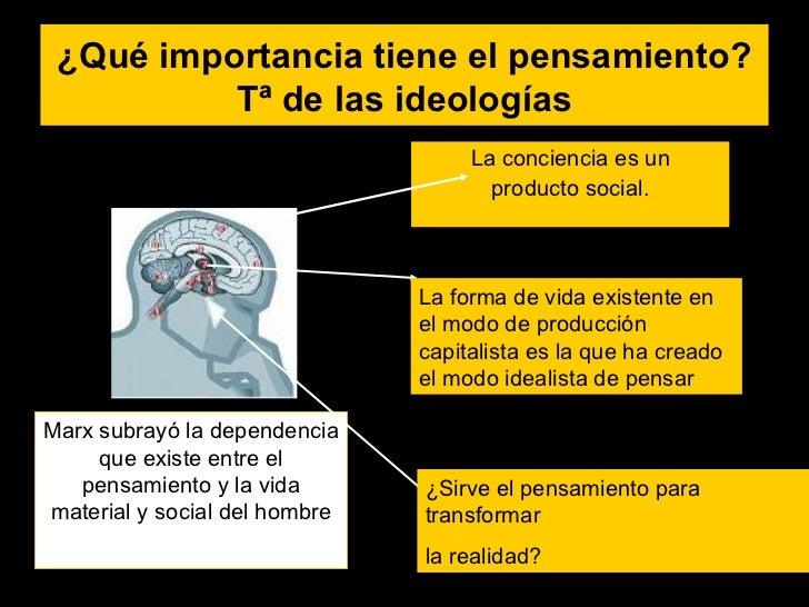 ¿Qué importancia tiene el pensamiento? Tª de las ideologías <ul><li>La conciencia es un </li></ul><ul><li>producto social....