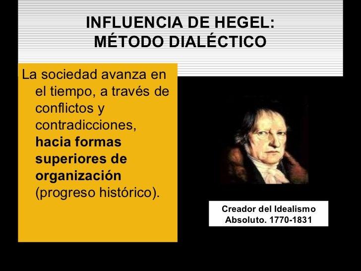 INFLUENCIA DE HEGEL: MÉTODO DIALÉCTICO <ul><li>La sociedad avanza en el tiempo, a través de conflictos y contradicciones, ...