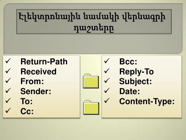 Էլեկտրոնային նամակի վերնագրի               դաշտերը   Return-Path        Bcc:   Received           Reply-To   From:   ...