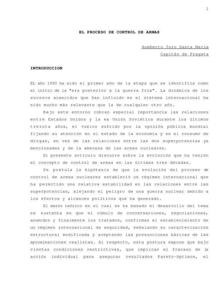 1                            EL PROCESO DE CONTROL DE ARMAS                                                  Humberto Toro...