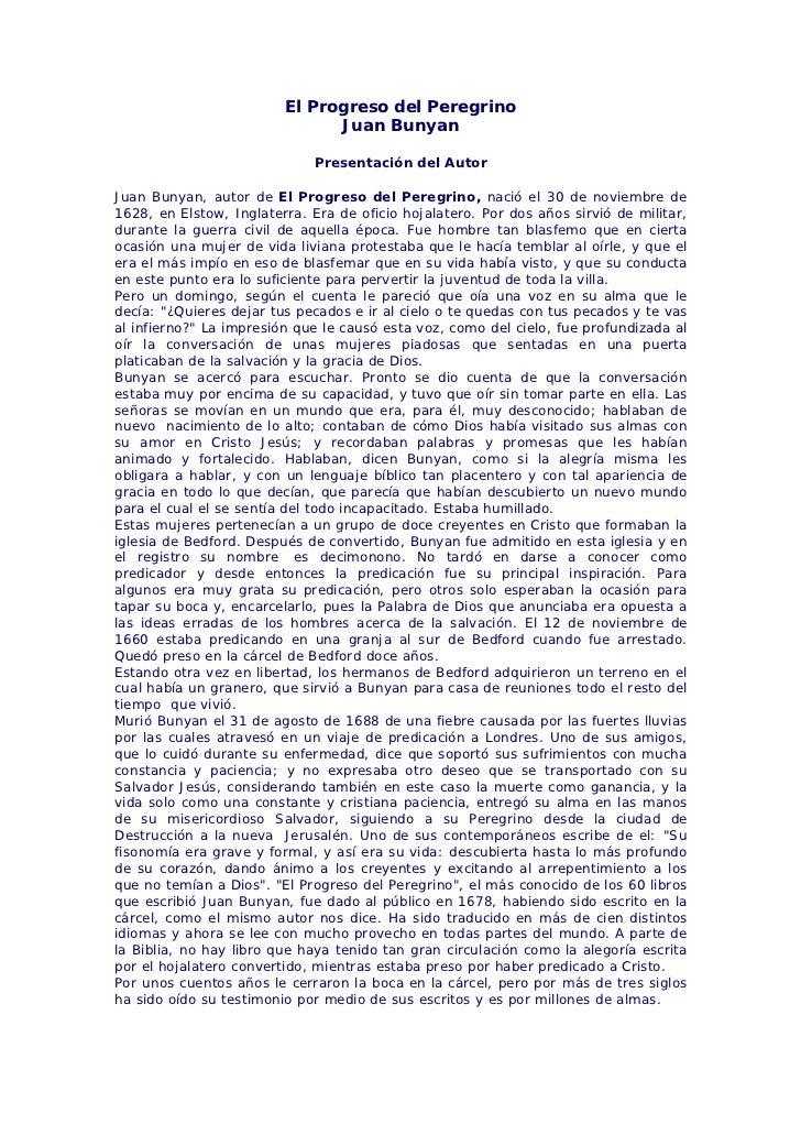 El Progreso del Peregrino                               Juan Bunyan                              Presentación del AutorJua...
