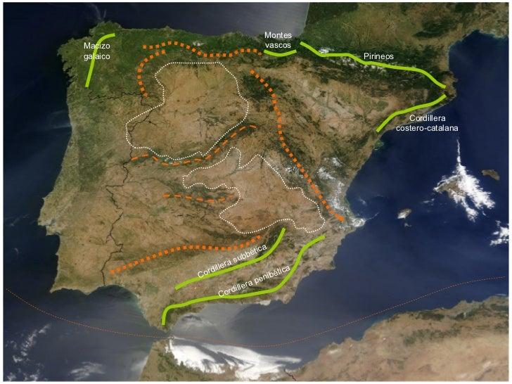 Macizo galaico Montes vascos Pirineos Cordillera costero-catalana Cordillera subbética Cordillera penibética