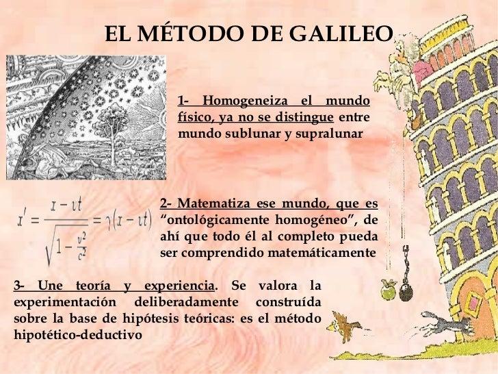 EL MÉTODO DE GALILEO 1- Homogeneiza el mundo físico, ya no se distingue  entre mundo sublunar y supralunar 2- Matematiza e...