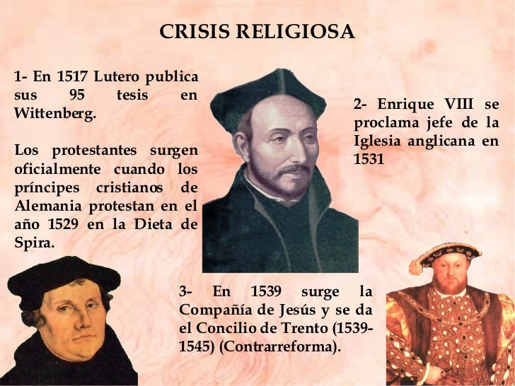 CRISIS RELIGIOSA 3- En 1539 surge la Compañía de Jesús y se da el Concilio de Trento (1539-1545) (Contrarreforma). 2- Enri...