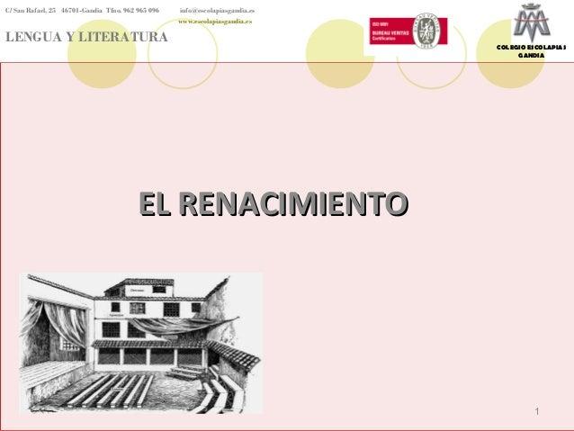 C/ San Rafael, 25 46701-Gandia Tfno. 962 965 096  info@escolapiasgandia.es www.escolapiasgandia.es  LENGUA Y LITERATURA  C...