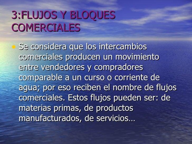 3:FLUJOS Y BLOQUES COMERCIALES <ul><li>Se considera que los intercambios comerciales producen un movimiento entre vendedor...