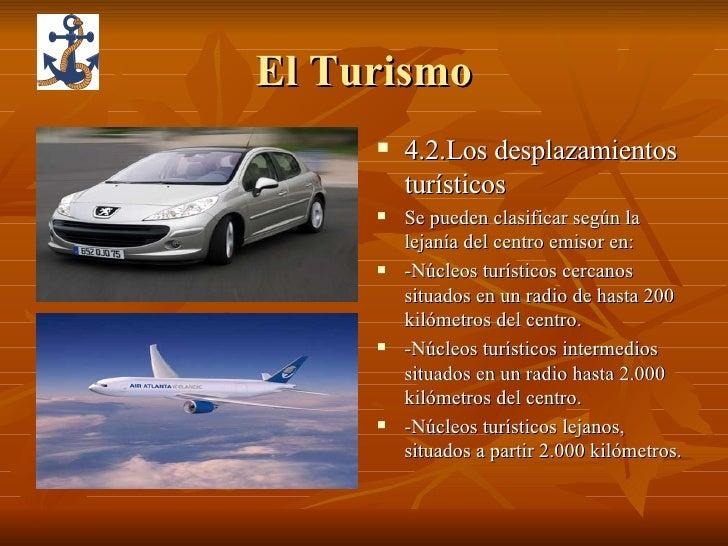 El Turismo <ul><li>4.2.Los desplazamientos turísticos </li></ul><ul><li>Se pueden clasificar según la lejanía del centro e...