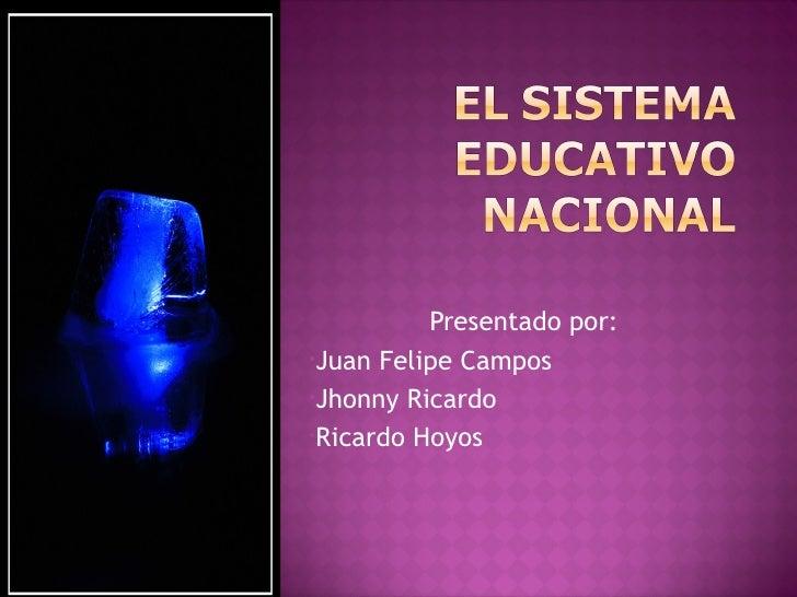 <ul><li>Presentado por:  </li></ul><ul><li>Juan Felipe Campos </li></ul><ul><li>Jhonny Ricardo </li></ul><ul><li>Ricardo H...