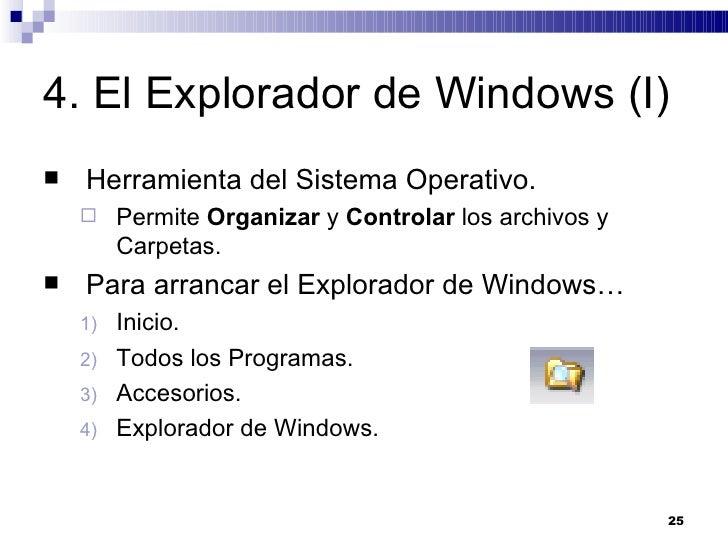 4. El Explorador de Windows (I) <ul><li>Herramienta del Sistema Operativo. </li></ul><ul><ul><li>Permite  Organizar  y  Co...