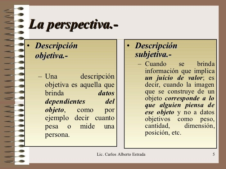 La perspectiva.- <ul><li>Descripción  </li></ul><ul><li>objetiva.- </li></ul><ul><ul><li>Una descripción objetiva es aquel...