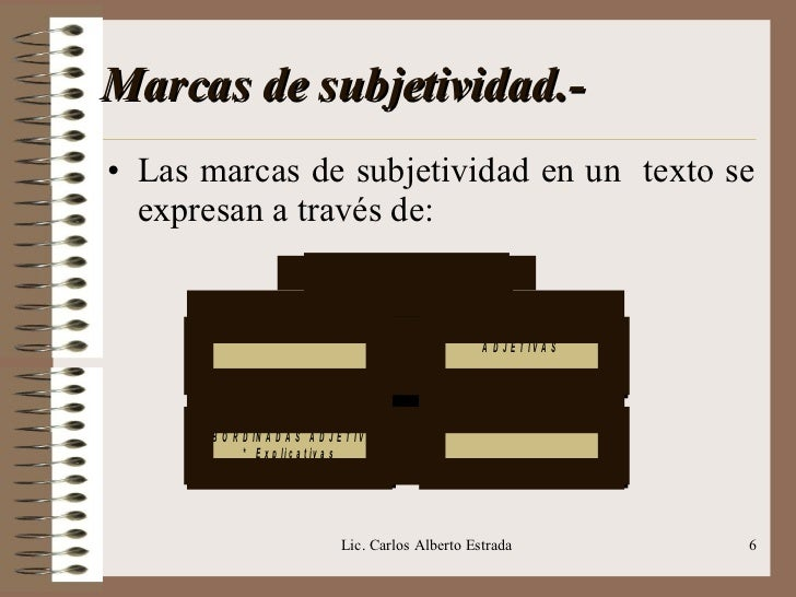Marcas de subjetividad.- <ul><li>Las marcas de subjetividad en un  texto se expresan a través de: </li></ul>Lic. Carlos Al...