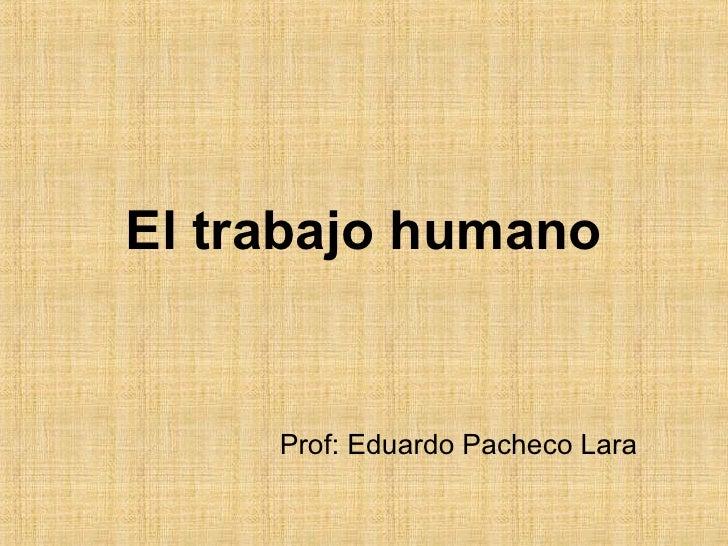 Prof: Eduardo Pacheco Lara El trabajo humano