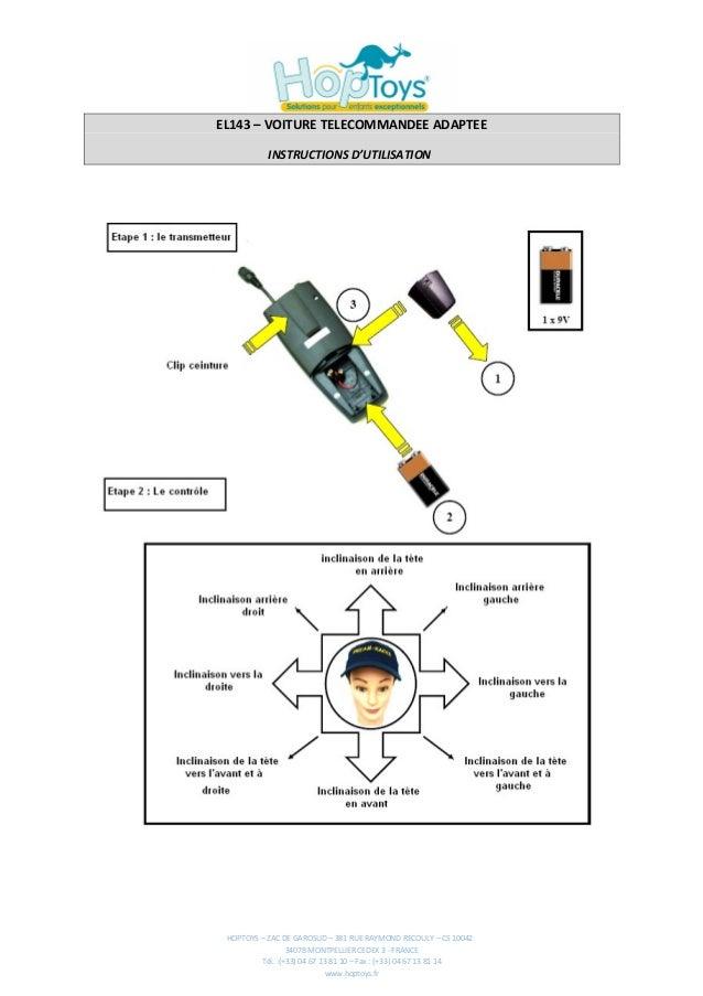 EL143 – VOITURE TELECOMMANDEE ADAPTEE           INSTRUCTIONS D'UTILISATION HOPTOYS – ZAC DE GAROSUD – 381 RUE RAYMOND RECO...