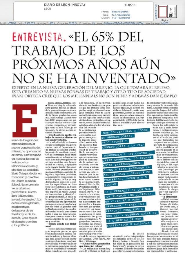 13/01/15DIARIO DE LEON (INNOVA) LEON Prensa: Semanal (Martes) Tirada: 13.776 Ejemplares Difusión: 11.817 Ejemplares Página...