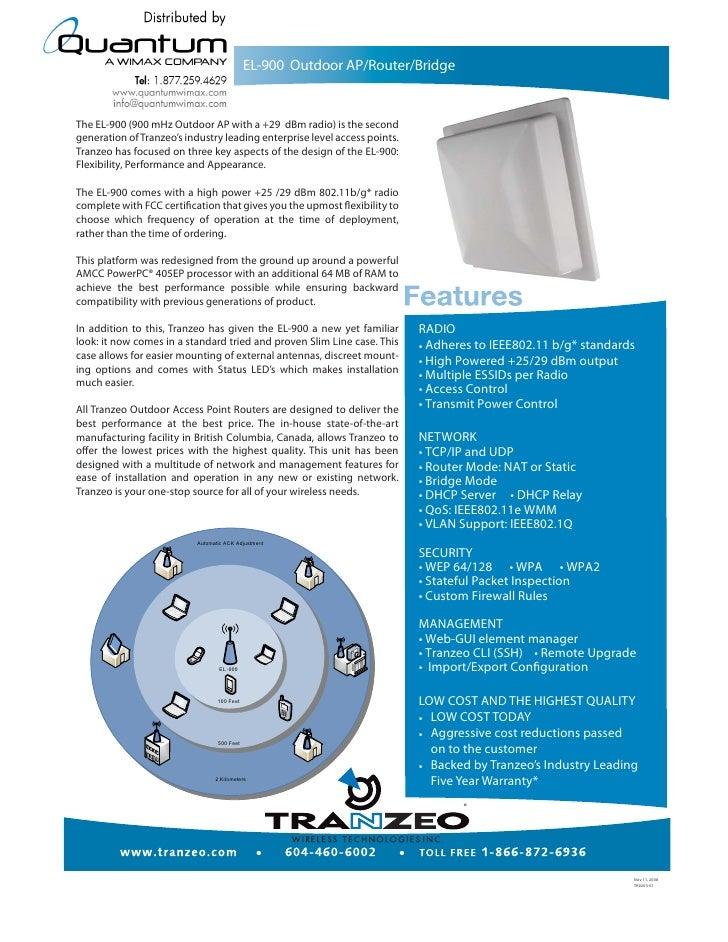 EL-900 Outdoor AP/Router/Bridge   The EL-900 (900 mHz Outdoor AP with a +29 dBm radio) is the second generation of Tranzeo...