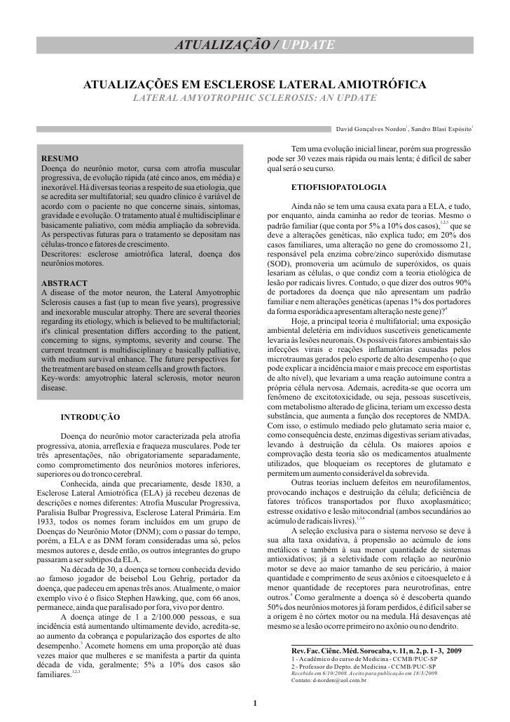 ATUALIZAÇÃO / UPDATE                ATUALIZAÇÕES EM ESCLEROSE LATERAL AMIOTRÓFICA                               LATERAL AM...