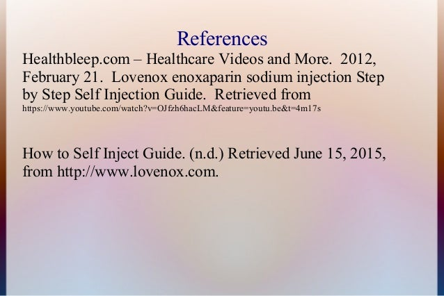 Ela Lovenox Self Injection
