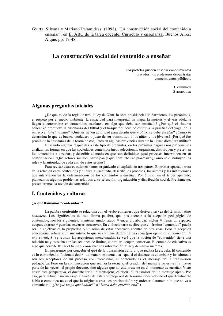 """Gvirtz, Silvana y Mariano Palamidessi (1998). """"La construcción social del contenido a       enseñar"""", en El ABC de la tare..."""