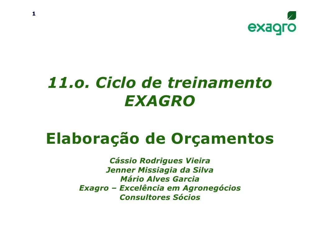 1    11.o. Ciclo de treinamento              EXAGRO    Elaboração de Orçamentos             Cássio Rodrigues Vieira       ...