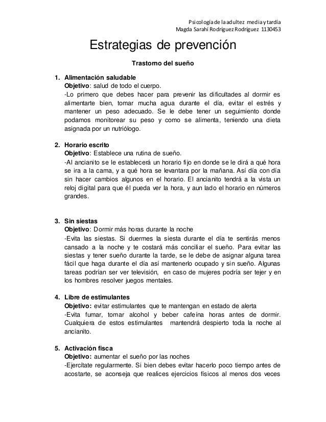 Psicologíade laadultez mediaytardía Magda Sarahí RodríguezRodríguez 1130453 Estrategias de prevención Trastorno del sueño ...