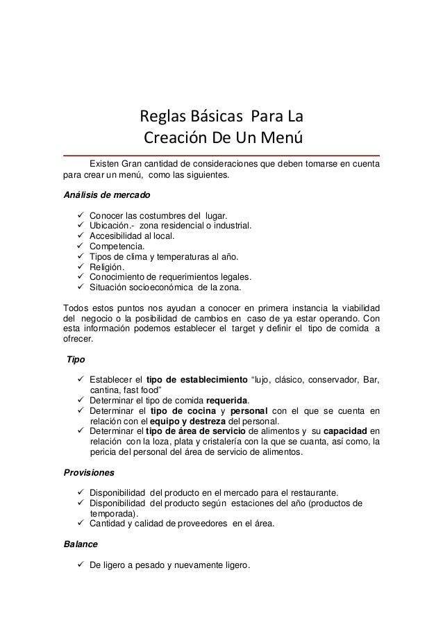 ReglasBásicasParaLa CreaciónDeUnMenú ciones que deben tomarse en cuenta s costumbres del lugar. Competencia. tuac...