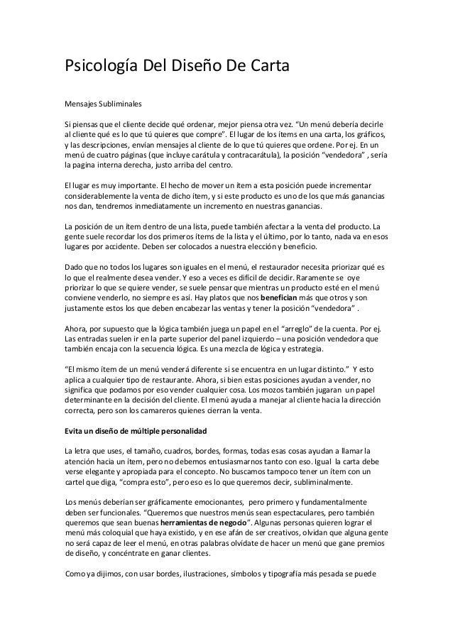 PsicologíaDelDiseñoDeCarta  MensajesSubliminales  Sipiensasqueelclientedecidequéordenar,mejorpiensaotra...