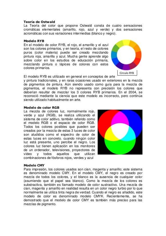 Teoría de Ostwald La Teoría del color que propone Ostwald consta de cuatro sensaciones cromáticas elementales (amarillo, r...