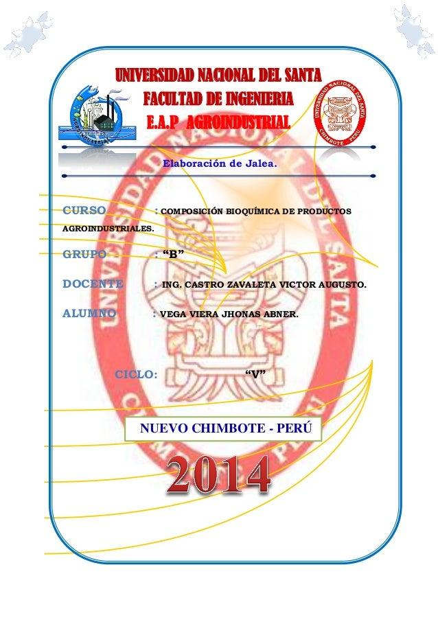 """Elaboración de Jalea. CURSO : COMPOSICIÓN BIOQUÍMICA DE PRODUCTOS AGROINDUSTRIALES. GRUPO : """"B"""" DOCENTE : ING. CASTRO ZAVA..."""