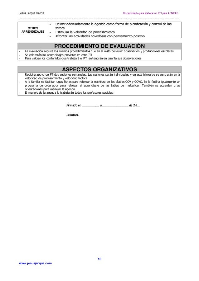 Jesús Jarque García  Procedimiento para elaborar un PTI para ACNEAE  OTROS APRENDIZAJES  -  Utilizar adecuadamente la agen...